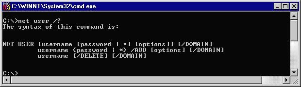 NT net user addition